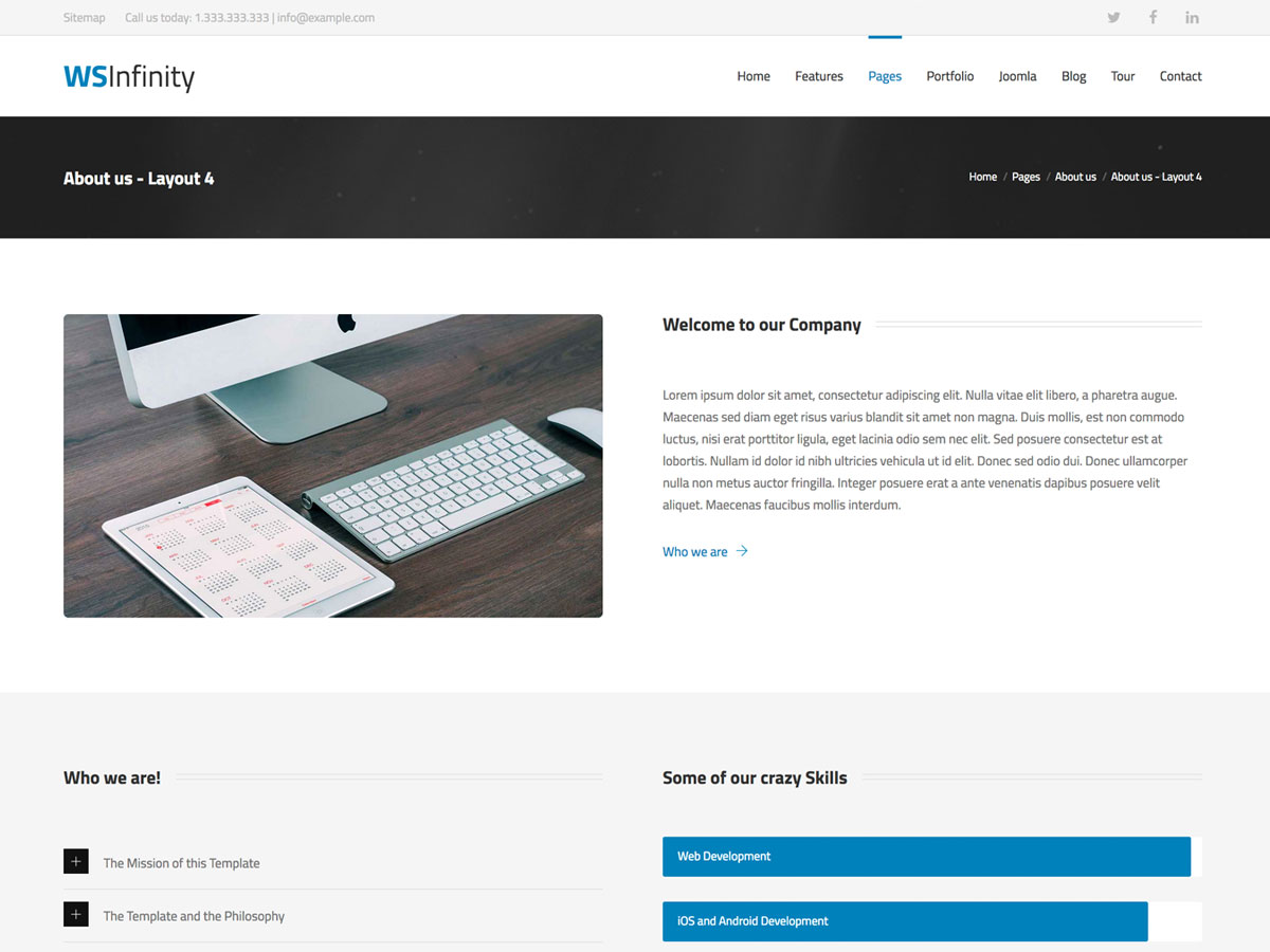 WS-Infinity - Demo Page for Business